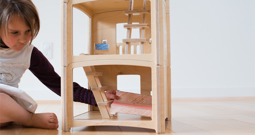 contemporary wood dollhouse